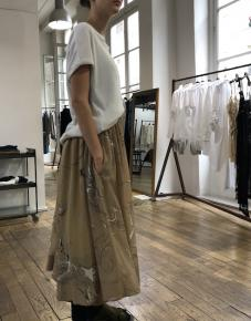 Jupe culotte beige imprimée