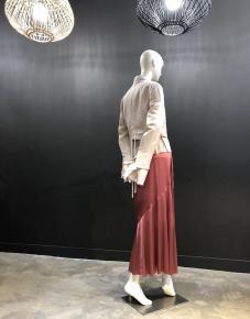 Jupe longue stin de soie rose