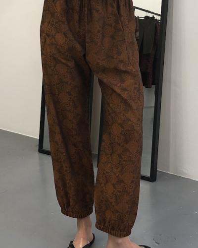 Pantalon jacquard motif floral