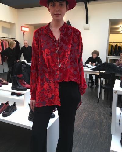 Chemise velours dévoré rouge