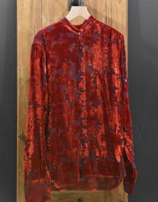 Chemise velours rouge
